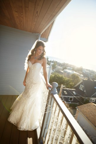 bride on balcony at Seattle home