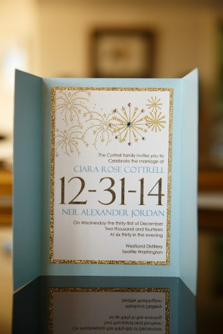 custom wedding invitations in light blue, white with gold sparkle design
