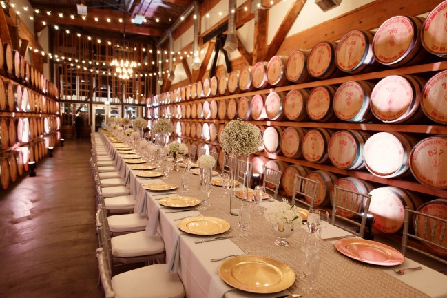 Westland Distillery Wedding reception in barrel room