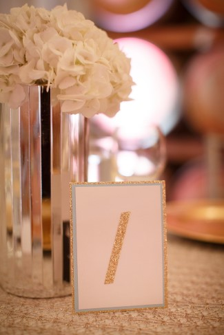 gold sparkled table number
