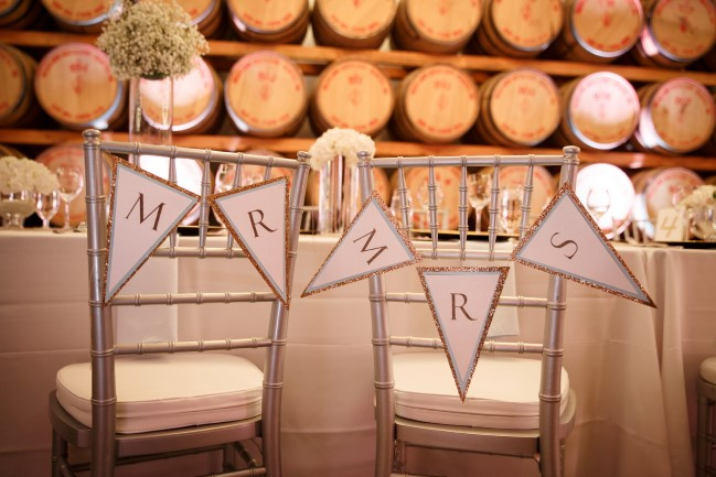 Mr and Mrs chair sign bunting
