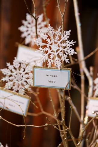 snow flake table number card