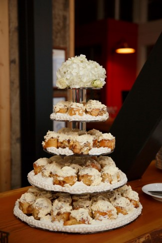Cinnabon wedding cake made of cinnamon buns