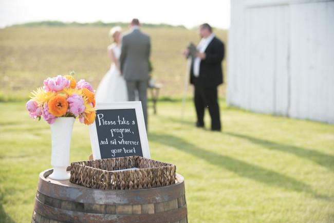 Chalkboard sign for wedding ceremony for wedding programs