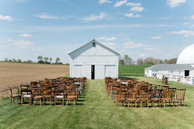 Yellow and Gray Outdoor Barn Wedding