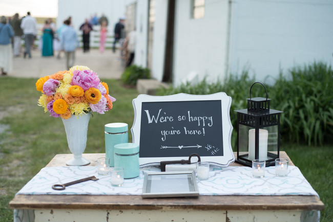 Rustic whimsical outdoor wedding ceremony decor