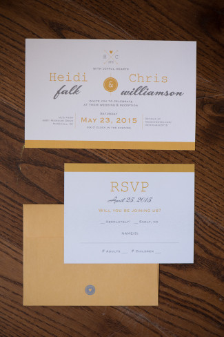 Yellow and grey invitation created from Vistaprint