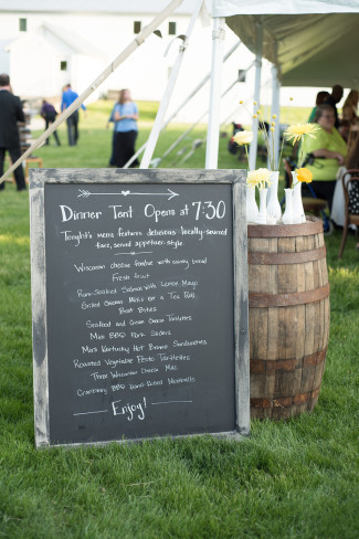Rustic chalkboard sign for wedding reception menu