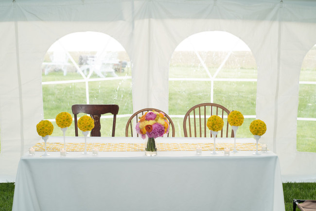 Wedding reception floral center pieces created by Mayfield Flower Designs