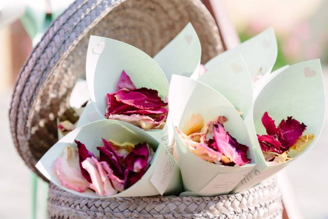 Dried roses for wedding guest to throw after wedding ceremony
