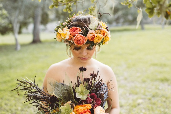 styled shoot model with flower crown and rustic bouquet