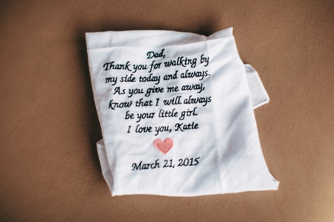 Handkerchief with writing for the father of the bride