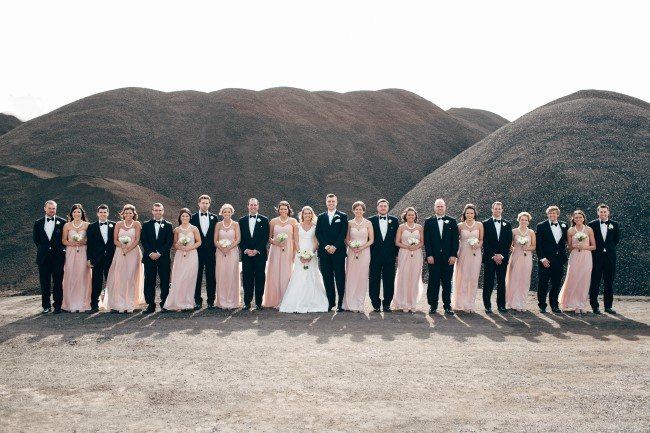 Bride and groom lined up with wedding party wearing black suits and blush pink floor length gowns