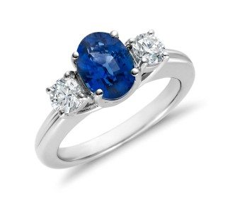 sapphire engagement ring with matching side diamonds
