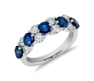 five sapphires with diamonds on engagement ring