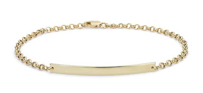 Engravable 14k Gold Bar Bracelet