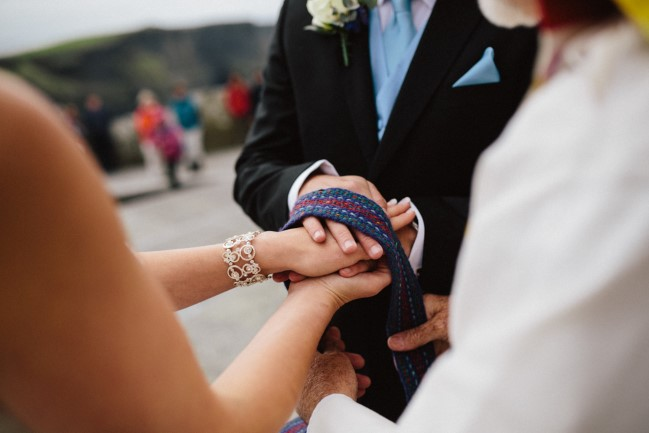 Handfasting ceremony at wedding reception in Ireland
