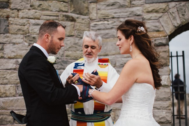 Bride and groom during wedding ceremony in Ireland performed by Darra Molloy