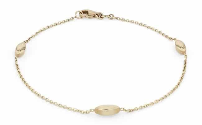 Mininalist 14k gold Bracelet with marquise shaped charms