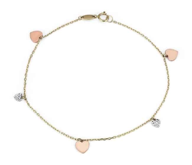 Tri-Color Petite Stationed Heart Bracelet