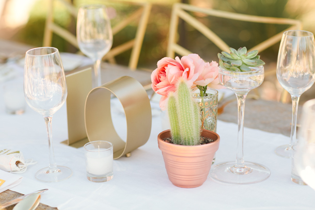 Gold metal table numbers for wedding reception