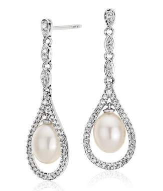 Bridal jewelery Drop pearl earrings from Blue Nile