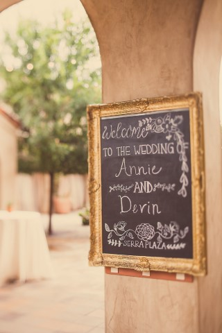 chalkboard sign with gold frame