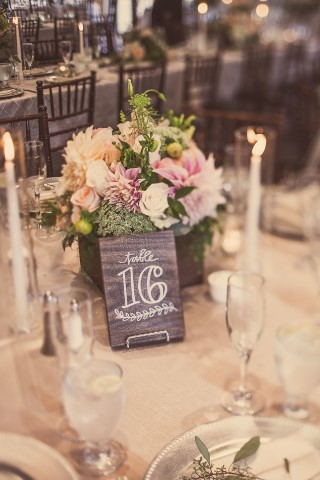 wood table number with handwriting