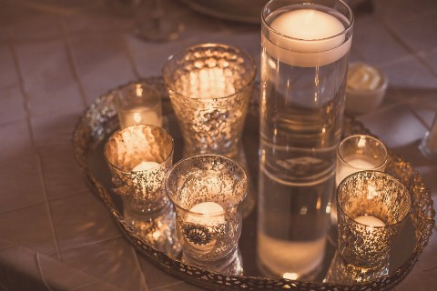 candles on silver tray