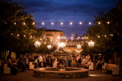 evening reception outdoors at San Juan Capistrano