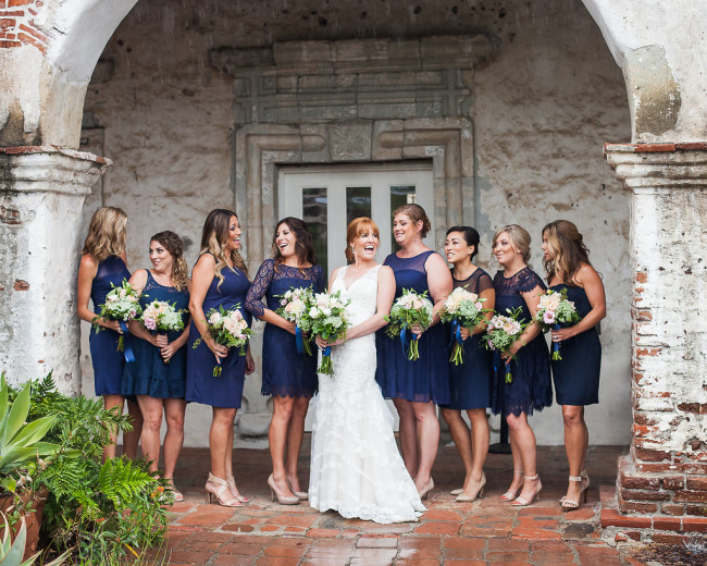 bridesmaids in stunning short blue dresses