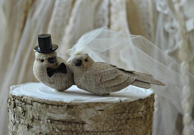 Burlap birds wedding cake topper