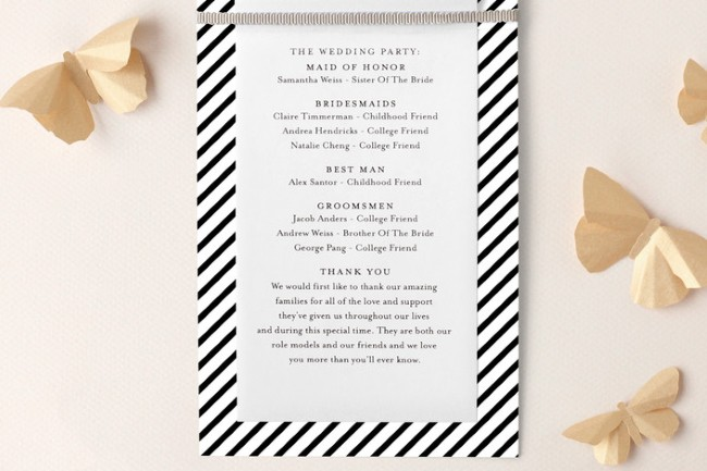 wedding program example from Minted