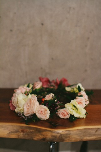 Pink and cream floral crown with green foliage