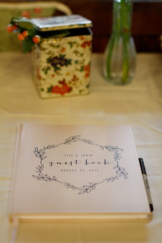 Whimsical white guestbook for wedding