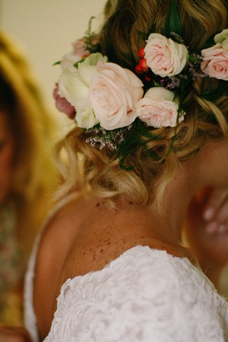 Bride wearing a floral crown