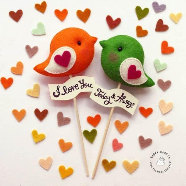 Felt bright colored love bird wedding cake topper