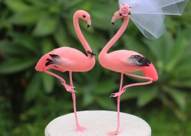 Flamingo Cake Topper Bride and Groom for Destination Wedding