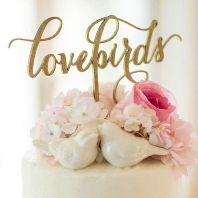 Love Bird Written Cake Topper