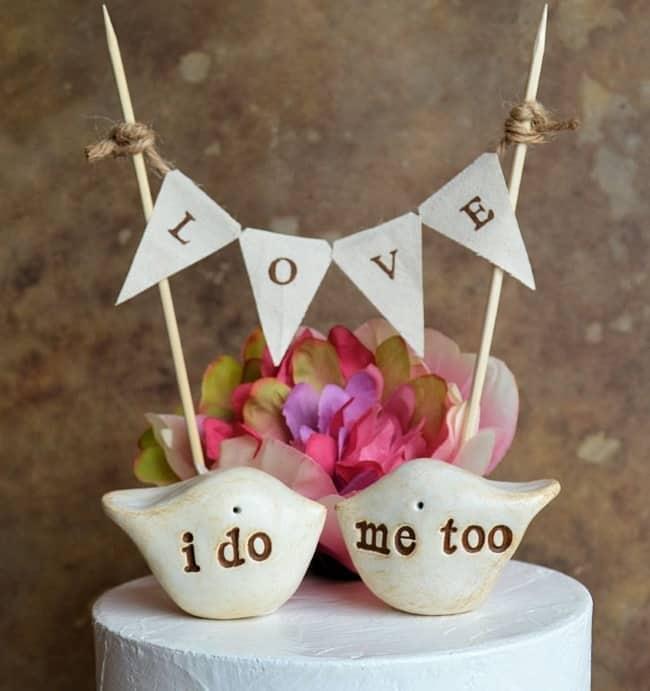 Love bird cake topper with I do Me Too