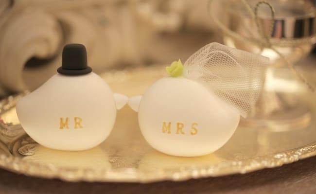 Mr & Mrs Bird cake topper
