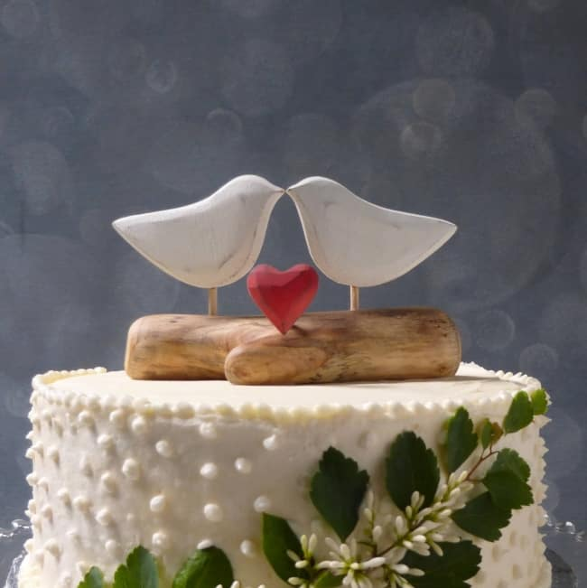 Natural Wood Love Bird Cake Topper with Heart