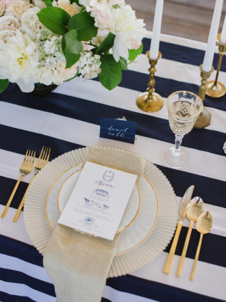 Royal Blue Burlap Table Runner Blue Navy, Striped Tablerunner