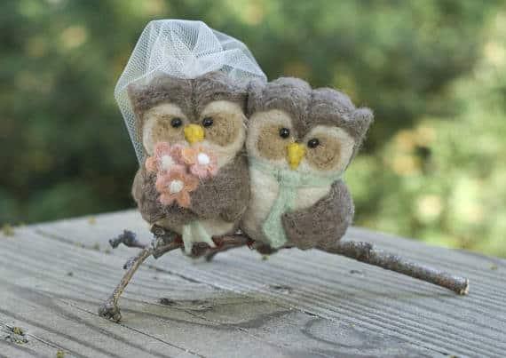 Needle Felted Owl Wedding Cake Topper