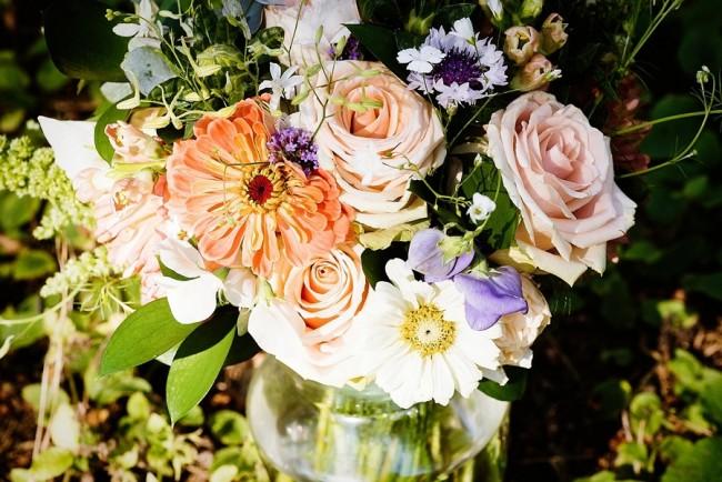 Pastel colored bridal bouquet