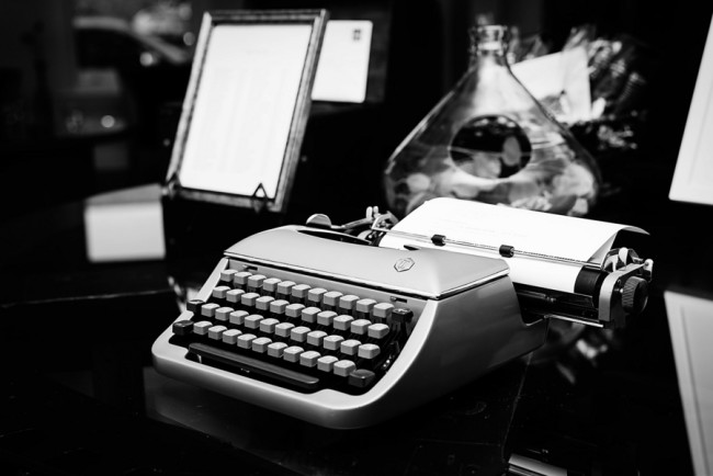 Old type writer for wedding guest book