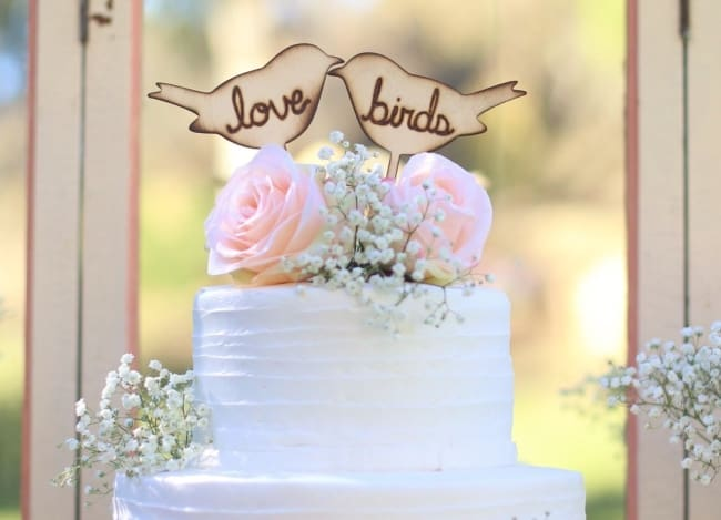 Rustic Love Bird Cake Topper with Love Bird Text