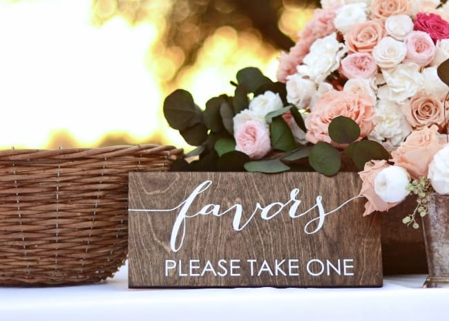 wood wedding favor sign