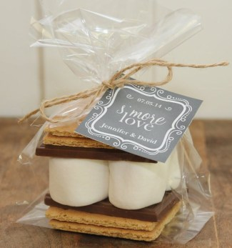 smores wedding favor kit with chalkboard tag