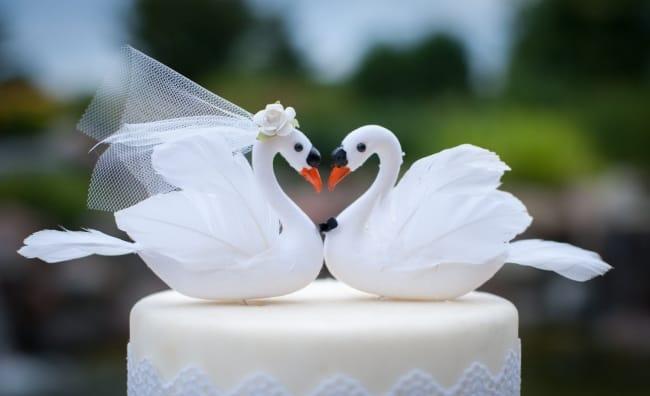 Swan Cake Topper Bride & Groom for Lake Wedding